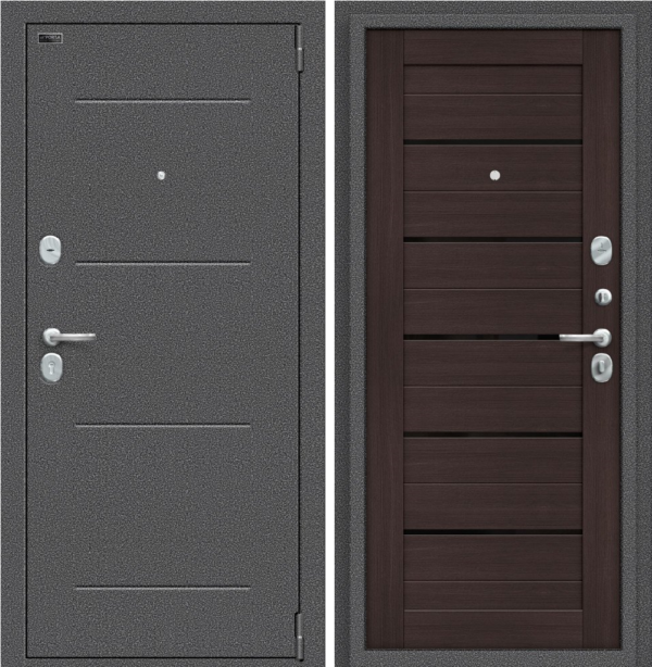 Входная дверь BRAVO Porta S 104.П22 Wenge Veralinga/Black Star