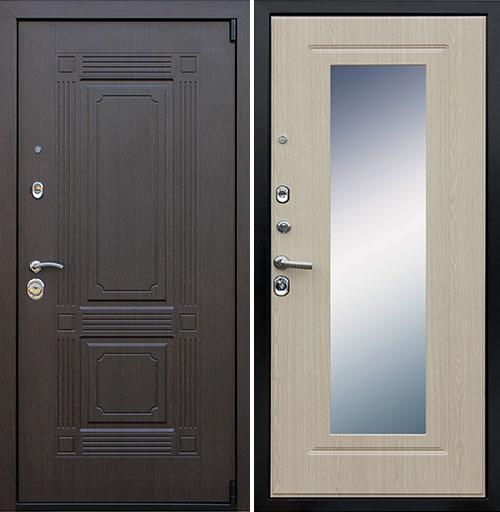 Входная дверь АСД Викинг с зеркалом «Беленый дуб»