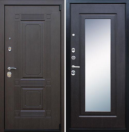 Входная дверь АСД Викинг с зеркалом «Венге»